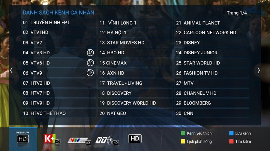 truyền hình fpt với danh sách kênh cá nhân